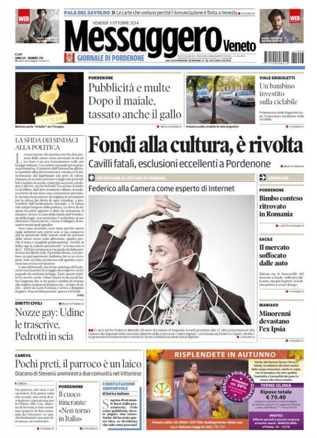 Federico Morello alla Camera dei deputati_prima pagina